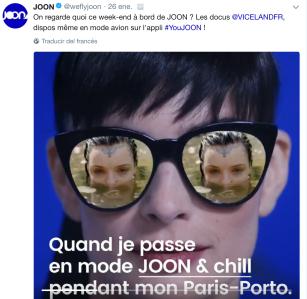 Tipo de publicación en el perfil de Twitter de la aerolínea JOON TW: @weflyjoon