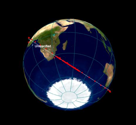 Captura de pantalla de la vista dinámica 3D que desarrolla Heaven-Above