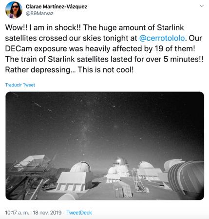 Tweet de Clarae Martínez-Vázquez, astrónoma de CTIO